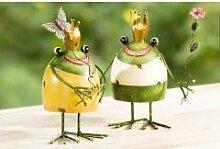 Frosch aus Metall Wackelfrosch Gartendeko (grün-weiss)