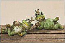 Frosch Froschkönig Terrakotta Deko Gartendeko Türdeko Tischdeko 2er Se