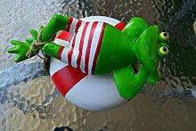Frosch- hübscher großer Schwimmfrosch auf Rettungsring für den Teich, grün- robuste Ausführung- wetterfes