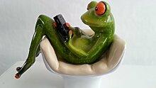 Frosch im Sessel mit Handy Handyfreak hellgrün, 14 cm