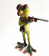 Frosch Jäger mit Gewehr, Kunststein, ca. 18 x 9 cm