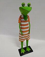 Frosch Kanu Exner Gartendeko Dekofigur Figur Metall H 48 cm 210360 F76 orange