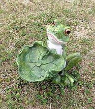 Frosch mit Blatt Vogeltränke Wassertränke Deko Figur 22,5cm