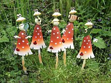 Frosch mit Instrument auf Pilz Gartenstecker 9x5x38cm 5er Se
