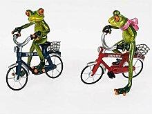 Frosch mit rotem Fahrrad, Kunststein, ca. 18 x 16