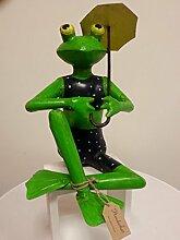Froschdame im Bikini mit Sonnenschirm, Metall, 30 cm hoch, Exner Gartendeko