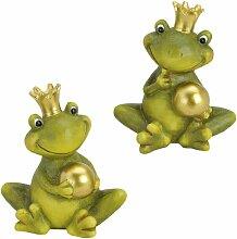 Froschkönig Figur Klein Im Set 15cm Gartendeko Frosch Dekofigur Garten mit Krone und Kugel in Gold und grün Vorgarten oder Hauseingang