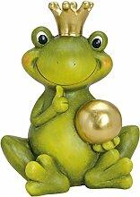Froschkönig XL deko Kugel 44cm Gartendeko Keramik Figuren Gartenfiguren Frosch