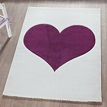 Froschkönig24 Teppich Kinderteppich 120x170cm Spielteppich Herz Lila/Weiß
