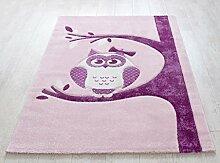 Froschkönig24 Teppich Kinderteppich 120x170cm Spielteppich Eule Rosa