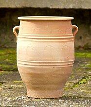 frostfeste Amphore mit Henkel, 40 cm mediterrane Keramik für den Garten Terrasse Außenbereich echtem Terrakotta, Thymus
