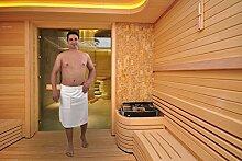Frotte Herren Saunakilt Saunatuch Sauna Klettverschluss Weiß