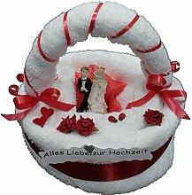 Frotteebox Geschenk Set Brautpaar auf Torte mit