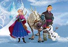Frozen - Foto-Tapete Disney Eiskönigin Anna, Sven, Kristoff und Olaf - Größe 368 x 254 cm - 4-teilig
