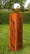 Frühjahr 2017 Rostsäulen 60cm schöne Gartendeko Skulptur mit Edelstahlkugel