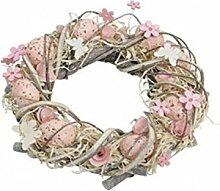 Frühling- Ostergesteck - Türkranz - Fensterkranz - aus Holz mit schöner Dekoration - in Rosa oder Braun - Kranz Gesteck - Ø30h9cm (Rosa)
