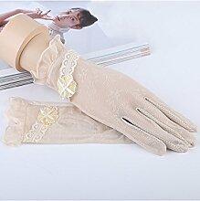 Frühling und Sommer Kurzer Schnitt Sonnenschutz Handschuhe Halskette Lovely Bowknot Lace Handschuhe Driving Anti-UV Ice Silk Handschuhe ( Farbe : 4 )