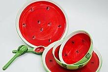 Frühstück-Set Wassermelone aus Keramik 6-teilig