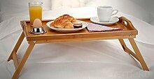 Frühstückstisch aus Bambus Laptoptisch Tablett Holz Betttisch Serviertablett, Bambustablett mit Beinen, 50x30 cm