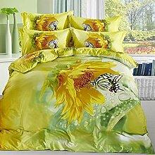 FS-411 100% gekämmte Baumwolle 4 Stück Sonnenblume Betten in voller Größe Kinder nach gelben Bettdecke gesetz