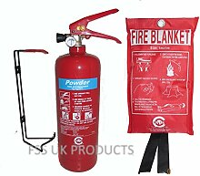 FSS UK PLUS 2kg ABC Dry Powder Feuerlöscher mit Fire Decke. Die britischen Standard CE. Ideal für Haushalte Küchen Arbeitsplatz Werkstatt Büros Cars Vans Lagerhallen Garagen Hotels Restaurants