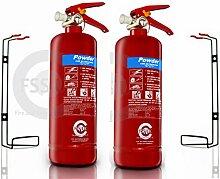 FSS UK PLUS 2x 2kg ABC Dry Powder Feuerlöscher. CE. Ideal für zu Hause Küche Arbeitsplatz Büros Cars Vans Lagerhallen Garagen Hotels restaurants0769675075637