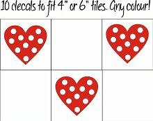 Fsss Ltd Herzen mit Punkten Fliesenaufkleber / Aufkleber für Fliesen in Küche und Bad, 10 Stück 130mm grün