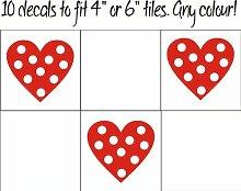 Fsss Ltd Herzen mit Punkten Fliesenaufkleber / Aufkleber für Fliesen in Küche und Bad, 10 Stück 130mm weiß