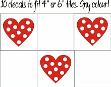 Fsss Ltd Herzen mit Punkten Fliesenaufkleber / Aufkleber für Fliesen in Küche und Bad, 10 Stück 80 mm silber