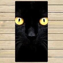 FSTGF Handtuch, Motiv: schwarze Katze im Dunkeln,