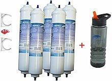 FT-5/G2. Wasserfilter für Samsung, LG, AEG, Side by Side Kühlschrankfilter mit integriertem Schlauchanschluss. Aktivkohleblock (5er Pack) + GRATIS N.2 Trinkflasche