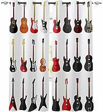 FTCAKET Verdunkelungsvorhang Gitarre Gardine