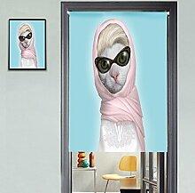 FTHIYK Vorhang Karikatur Katze Halber Vorhang Sonnenschutz Windschutzscheibe Vorhang Portal Garderobe Dekoration Ohne Teleskopstange,C-85*120CM