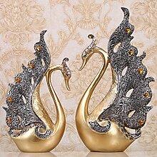 FUCHEN Einfache Europäische Stil Dekoration Dekoration Wohnzimmer Tv-Schrank Swan High-End-Geschenke Basteln Kreative Hochzeit Geschenk Wein, Ein Paar Goldene Schwäne