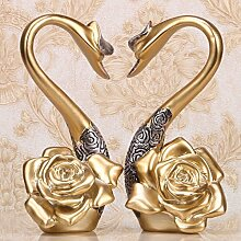 FUCHEN Kreative Liebhaber Swan Hochzeit Geschenk Wein Heimtextilien Dekoration Wohnzimmer Tv-Schrank Dekorative Veranda Handwerk Dekoration, Gold/Paar