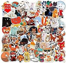 Fuchs-Aufkleber, 102 Stück, niedliche Tiere,