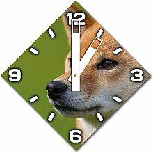 Fuchs, Design Wanduhr aus Alu Dibond zum Aufhängen, 30 cm Durchmesser, breite Zeiger, schöne und moderne Wand Dekoration, mit qualitativem Quartz Uhrwerk