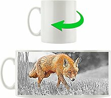 Fuchs im Wald orange grau, Motivtasse aus weißem