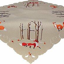 Fuchs im Wald Tischdecke Mitteldecke Tischläufer Beige Leinen-Optik Stickerei 85x85 cm