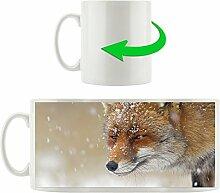 Fuchs mit Schnee, Motivtasse aus weißem Keramik 300ml, Tolle Geschenkidee zu jedem Anlass. Ihr neuer Lieblingsbecher für Kaffe, Tee und Heißgetränke.