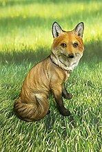 Fuchs sitzend Dekofigur Gartendeko Wildtier