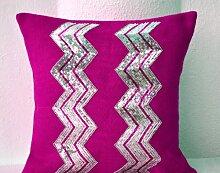 Fuchsia Jute Sackleinen Kissenhülle mit Silber Pailletten Stickerei in Chevron Muster–Zierkissen, Kissen covers-gift, violett, 45 x 45 cm