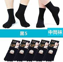 Fünf Finger Socken Mädchen Socken Baumwolle, und Desodorierung Schweiß-Zehensocken Männer Herbst und Winter, Baumwolle, und Socken, Frauen [5-2], männlich, schwarz 5.
