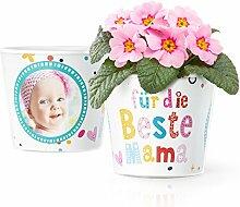 Für die beste Mama Geschenk - Blumentopf (ø16cm) | Geschenkidee zum Geburtstag, Muttertag oder Weihnachten mit Bilderrahmen für zwei Fotos (10x15cm)