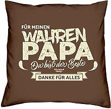 Für meinen wahren Papa :: Geschenk-Set: Kissen inkl. Füllung plus gratis Urkunde : Geschenk Adoptivvater Stiefvater : Geschenkidee Vatertag Vatertagsgeschenk 40x40 Farbe: braun