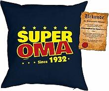 für Oma zum 85. Geburtstag Geschenkidee Kissen mit Füllung Super Oma since 1932 Polster zum 85 Geburtstag für 85-jähirge Dekokissen mit Urkunde