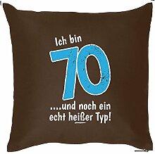Für rüstige Renter - Kissen mit Füllung - Ich bin 70... und noch ein echt heißer Typ! - Ein schönes Geburtstagsgeschenk