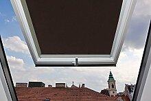 Für Velux Fenster GGU / GGL / GPU / GPL / GHU / GHL / GTU / GTL / GXU / GXL C02 Dachfensterrollo, Verdunkelungsrollos in Dunkelbraun - 55x78cm (Breite x Länge) - mit seitlichen Führungsschienen aus Aluminium
