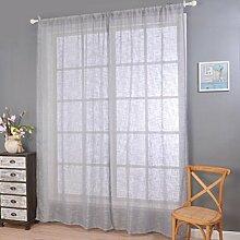 Fuibo Gardinen, Elegante Tür Fenster Vorhang Drapieren Panel Sheer Natürliche Leinen Streifen Muster (Grau)