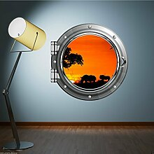 Full Farbe Safari African Sunset Bullauge Wand